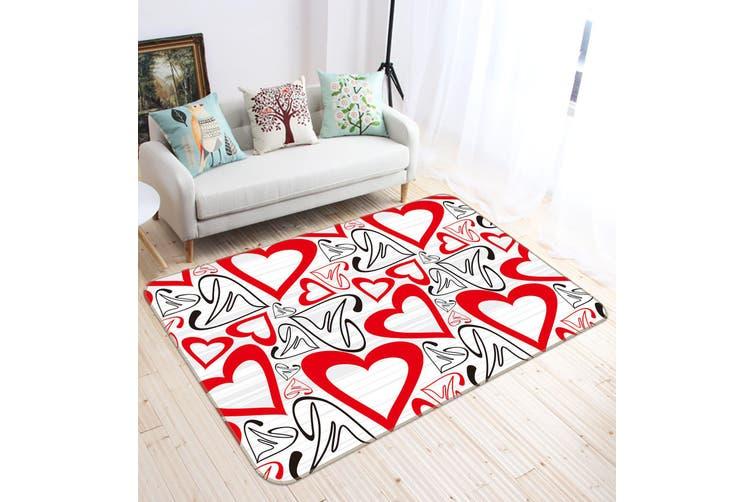 3D Heart Pattern 35239 Non Slip Rug Mat