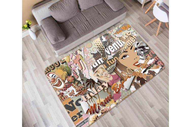 3D Letter Beauty Pattern 35223 Non Slip Rug Mat