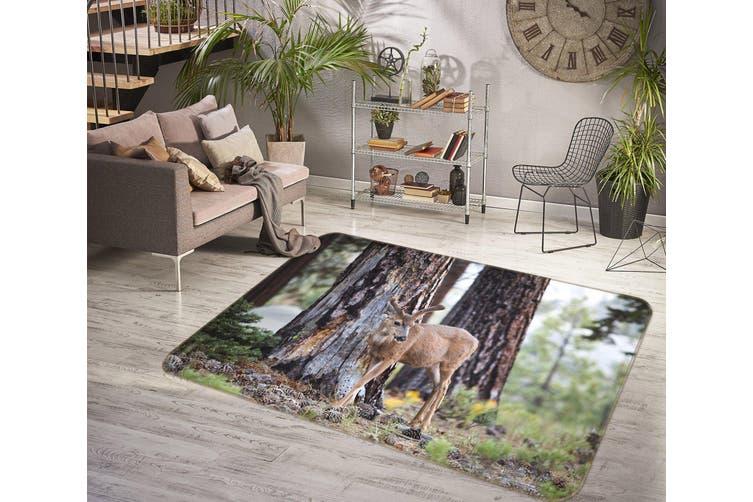 3D Trees Deer 35186 Non Slip Rug Mat
