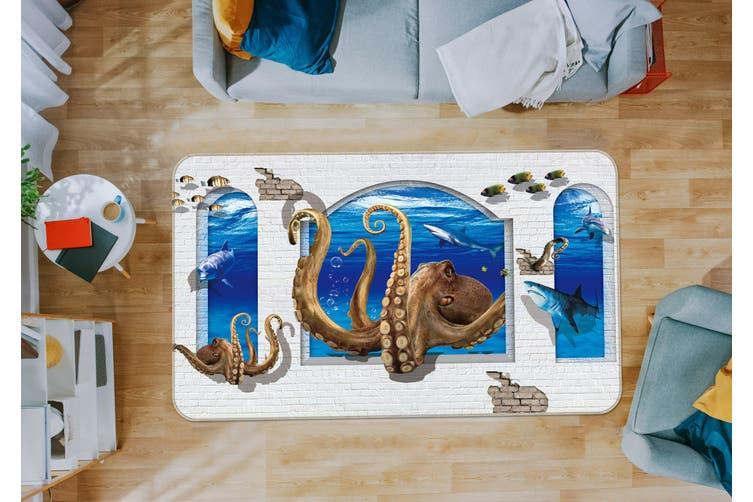 3D Window Octopus Tentacles 35161 Non Slip Rug Mat