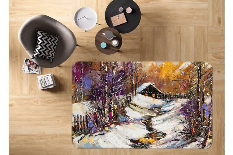 3D Snowfield Cottages 35147 Non Slip Rug Mat