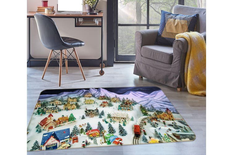 3D Christmas Tree Houses 35131 Non Slip Rug Mat