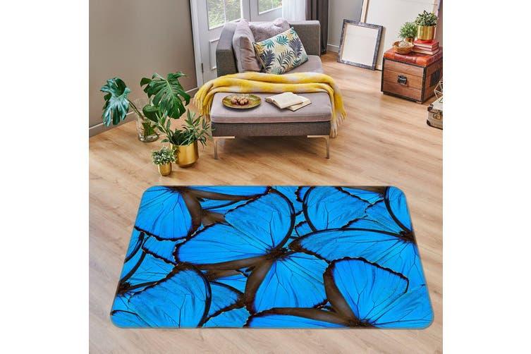 3D Blue Butterfly 35107 Non Slip Rug Mat