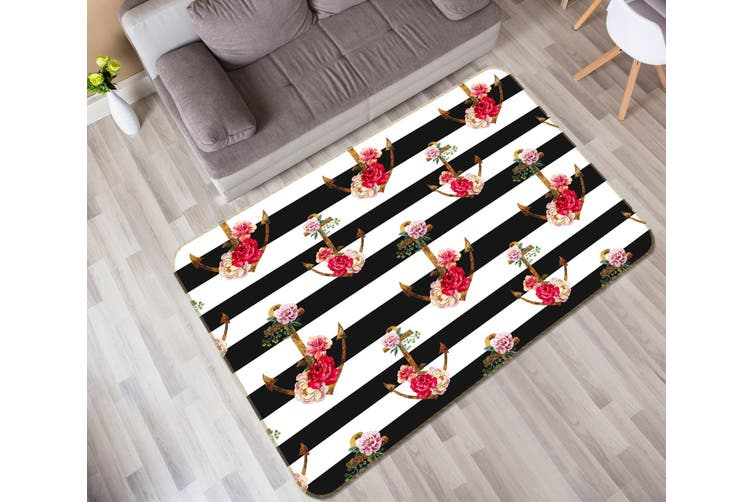 3D Black White Flowers 35073 Non Slip Rug Mat