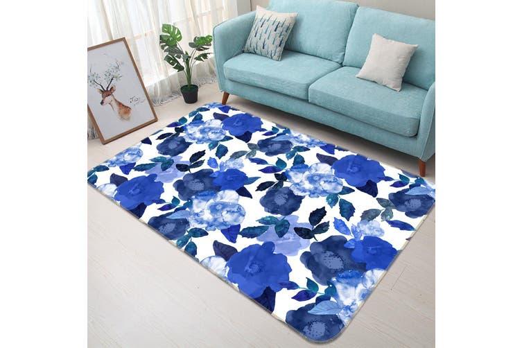 3D Blue Flowers 35071 Non Slip Rug Mat