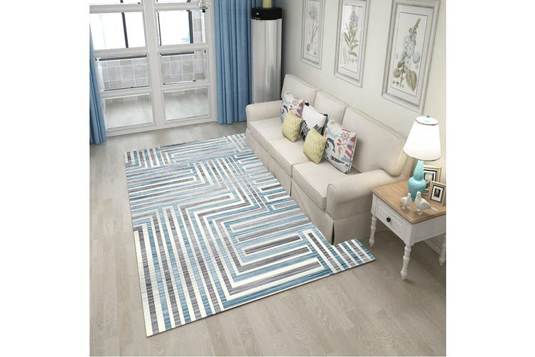 "3D Light Green Stripes WG071 Non Slip Rug Mat, 160cmx240cm (63""x94.5"")"