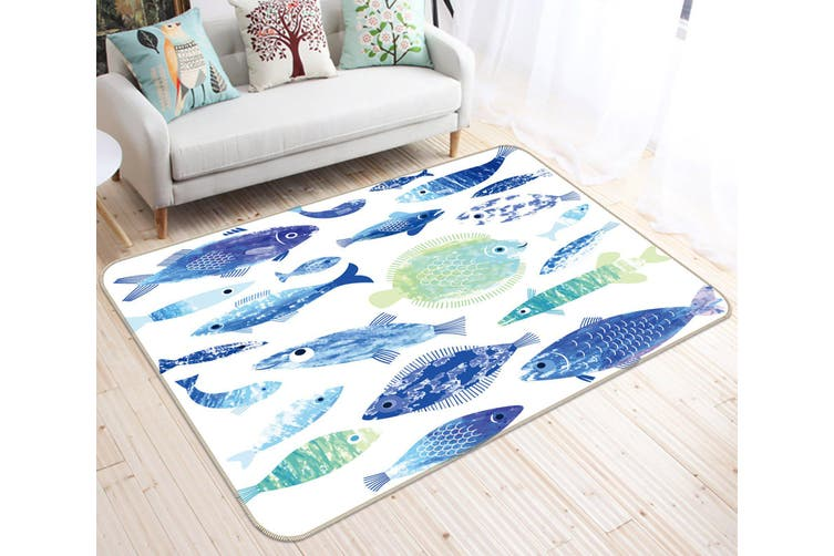 3D Fish Pattern 35059 Non Slip Rug Mat