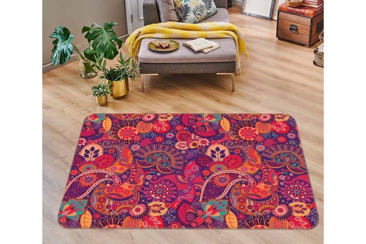 3D Red Pattern 35031 Non Slip Rug Mat