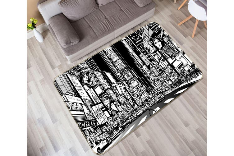3D City Building 35023 Non Slip Rug Mat