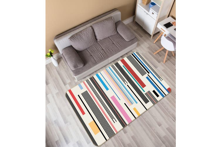 3D Color Vertical Bar 35021 Non Slip Rug Mat