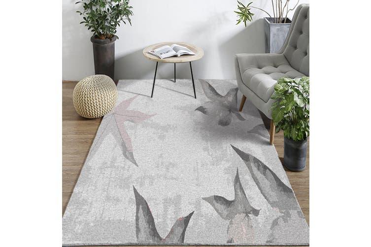 """3D Gray Leaves WG066 Non Slip Rug Mat, 80cmx120cm (31.4""""x47.24"""")"""