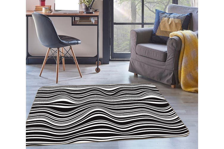 3D Black White Waves 35016 Non Slip Rug Mat