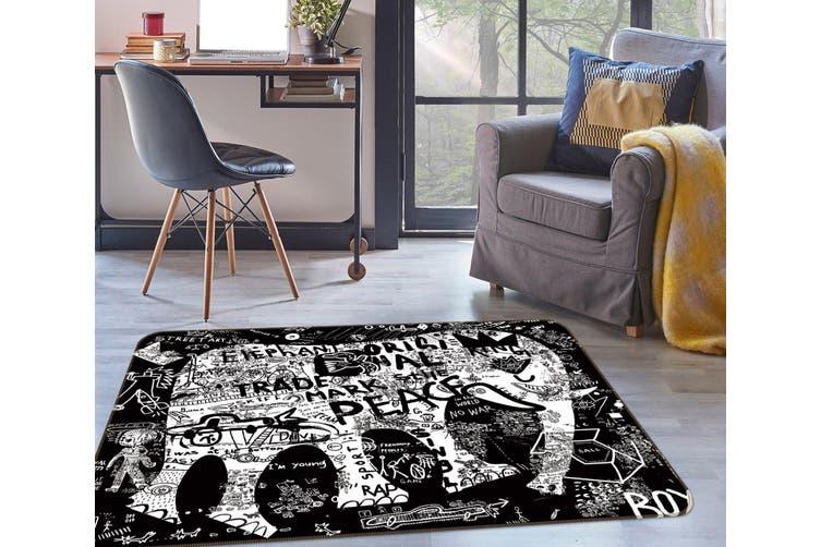 3D Elephant Letter 35013 Non Slip Rug Mat