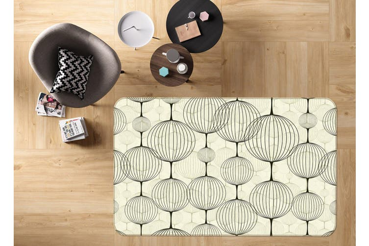 3D Round Pattern 35007 Non Slip Rug Mat
