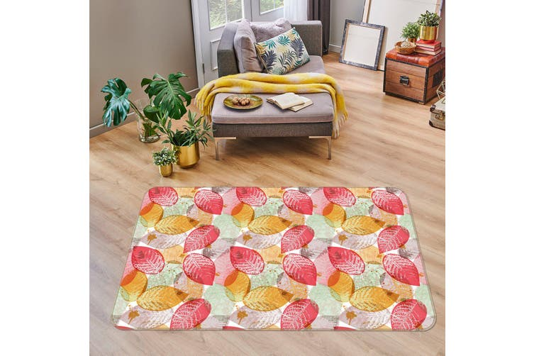 3D Red Yellow Leaves 34236 Non Slip Rug Mat