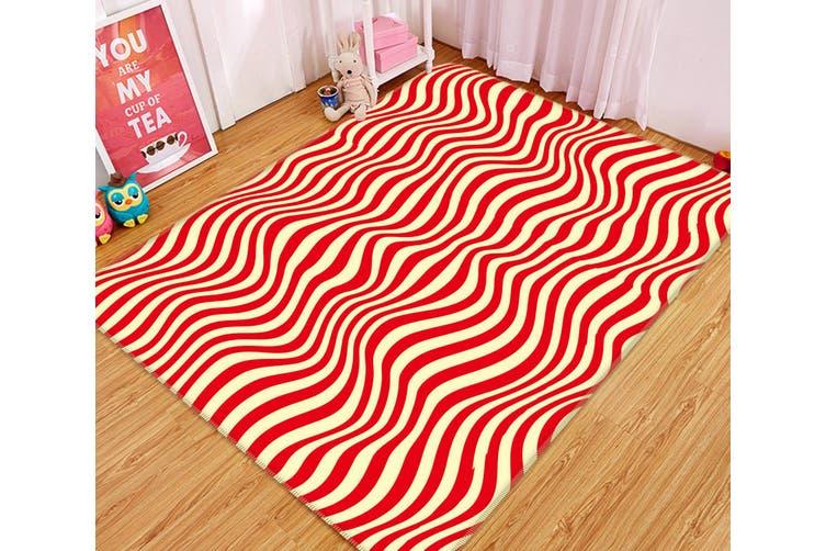 3D Red Wave 34231 Non Slip Rug Mat