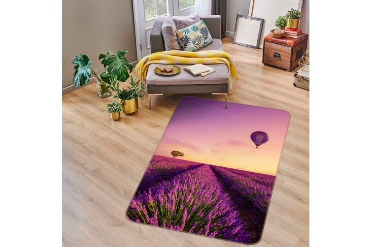 3D Lavender Flowers Hot Air Balloon 34191 Non Slip Rug Mat