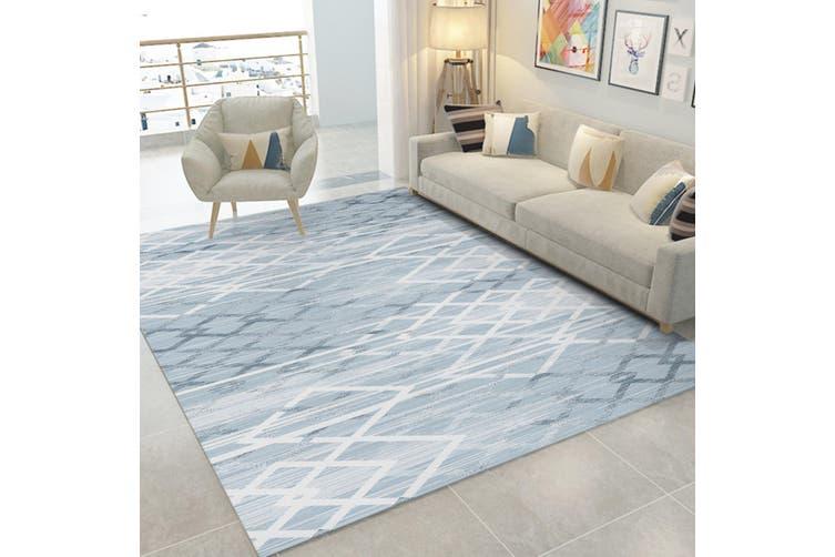"""3D White Gray Stripes WG047 Non Slip Rug Mat, 140cmx200cm (55.1""""x78.8"""")"""