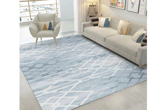 """3D White Gray Stripes WG047 Non Slip Rug Mat, 160cmx240cm (63""""x94.5"""")"""