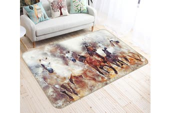 "3D Horse Rushing 601 Animal Non Slip Rug Mat, 160cmx240cm (63""x94.5"")"