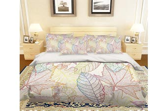 3D Leaves Vein Pattern 220 Bed Pillowcases Quilt Duvet Cover Bedding Set Quilt Cover Quilt Duvet Cover, King Single