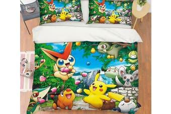 3D Pokemon 6 Anime Bed Pillowcases Quilt Anime Duvet Cover Bedding Set Quilt Cover Quilt Duvet Cover