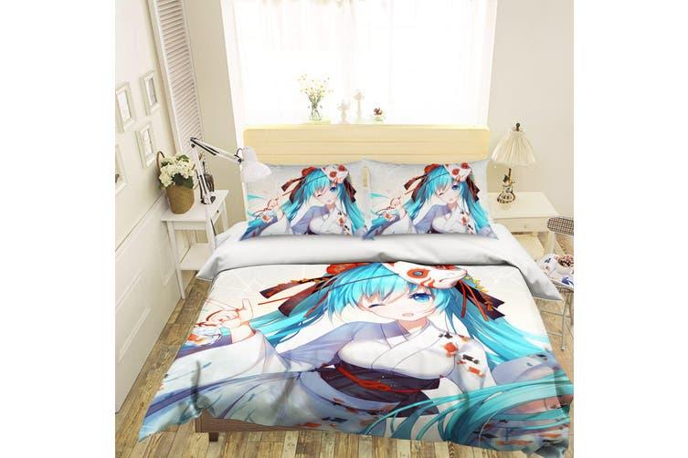 3D Hatsune Miku 244 Anime Bed Pillowcases Quilt Duvet Cover Bedding Set Quilt Cover Quilt Duvet Cover, King