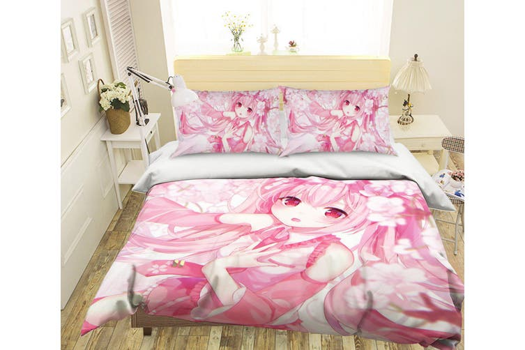 3D Hatsune Miku 228 Anime Bed Pillowcases Quilt Duvet Cover Bedding Set Quilt Cover Quilt Duvet Cover, King