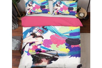 3D Hatsune Miku 1079 Anime Bed Pillowcases Quilt Duvet Cover Bedding Set Quilt Cover Quilt Duvet Cover, King Single