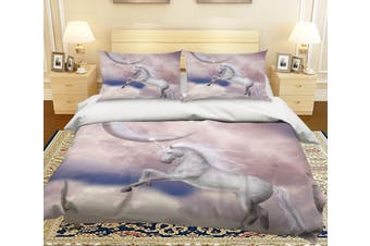 3D Moon Jump Unicorn 013 Bed Pillowcases Quilt Duvet Cover Bedding Set Quilt Cover Quilt Duvet Cover, King Single