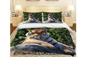3D Tiger King 2005 Bed Pillowcases Quilt Duvet Cover Bedding Set Quilt Cover Quilt Duvet Cover, King Single