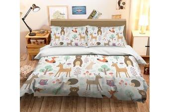 3D Fox Deer 059 Bed Pillowcases Quilt Duvet Cover Bedding Set Quilt Cover Quilt Duvet Cover