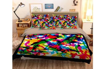 3D Abstract Color 068 Bed Pillowcases Quilt Duvet Cover Bedding Set Quilt Cover Quilt Duvet Cover, King Single