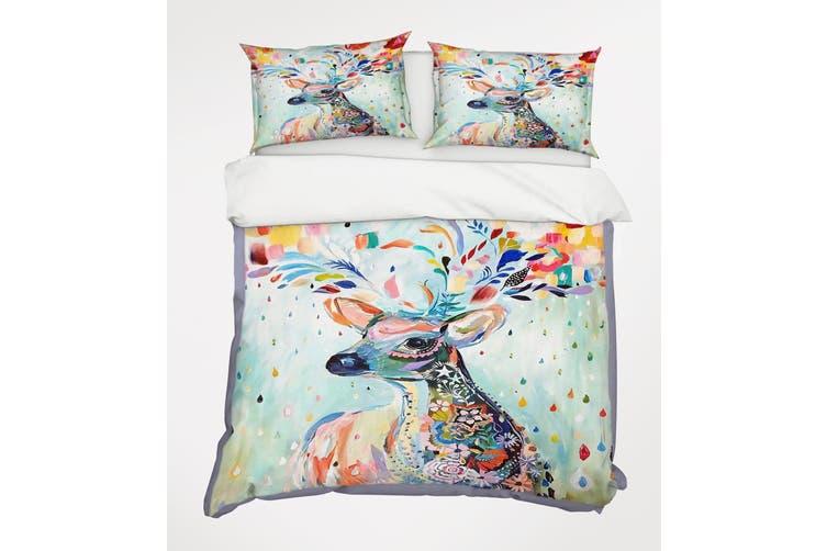 3D Deer Flower 065 Bed Pillowcases Quilt Duvet Cover Bedding Set Quilt Cover Quilt Duvet Cover, King Single
