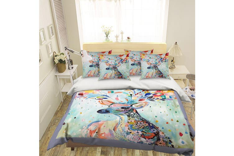 3D Deer Flower 065 Bed Pillowcases Quilt Duvet Cover Bedding Set Quilt Cover Quilt Duvet Cover, Queen