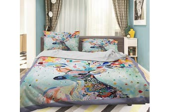 3D Deer Flower 065 Bed Pillowcases Quilt Duvet Cover Bedding Set Quilt Cover Quilt Duvet Cover, King
