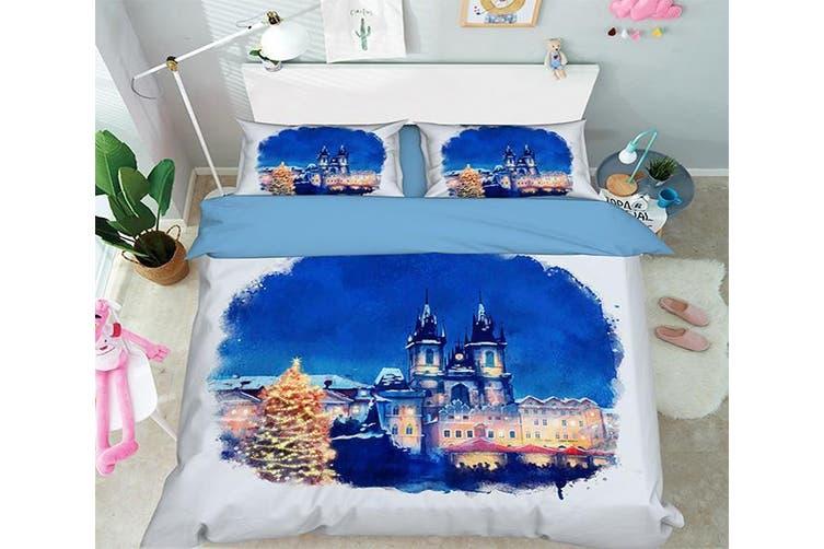 3D Blue Sky Castle 060 Bed Pillowcases Quilt Duvet Cover Bedding Set Quilt Cover Quilt Duvet Cover, King Single