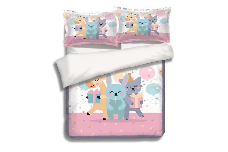 3D Animal Party 056 Bed Pillowcases Quilt Duvet Cover Bedding Set Quilt Cover Quilt Duvet Cover, Queen