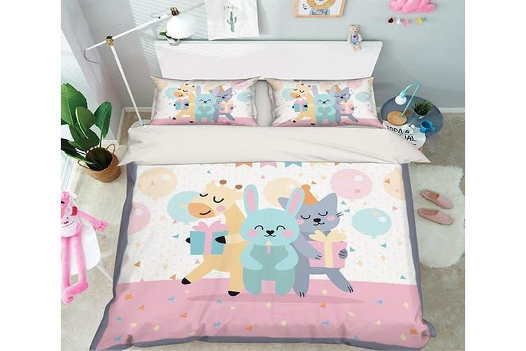 3D Animal Party 056 Bed Pillowcases Quilt Duvet Cover Bedding Set Quilt Cover Quilt Duvet Cover, King