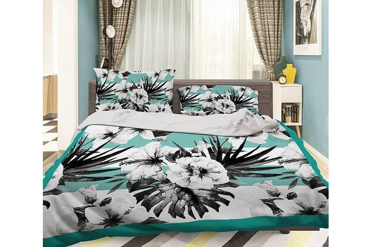 3D Black Flower 054 Bed Pillowcases Quilt Duvet Cover Bedding Set Quilt Cover Quilt Duvet Cover, King Single
