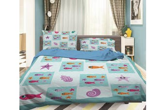 3D Small Starfish 053 Bed Pillowcases Quilt Duvet Cover Bedding Set Quilt Cover Quilt Duvet Cover, King Single
