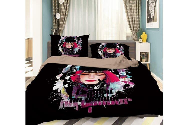3D Woman Black Hat 047 Bed Pillowcases Quilt Duvet Cover Bedding Set Quilt Cover Quilt Duvet Cover, King Single