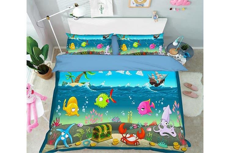3D Cartoon Ocean 001 Bed Pillowcases Quilt Duvet Cover Bedding Set Quilt Cover Quilt Duvet Cover, Queen