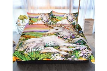 3D Oil Painting Unicorn 220 Bed Pillowcases Quilt Duvet Cover Bedding Set Quilt Cover Quilt Duvet Cover, King Single