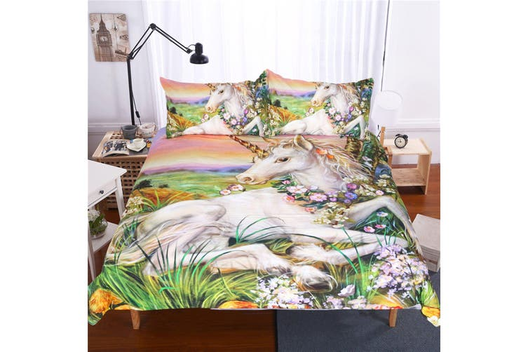 3D Oil Painting Unicorn 220 Bed Pillowcases Quilt Duvet Cover Bedding Set Quilt Cover Quilt Duvet Cover, King