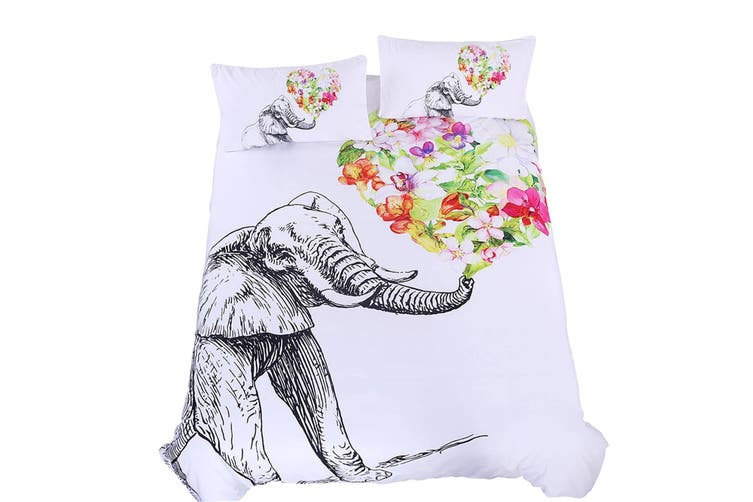 3D Flowers Elephant 205 Bed Pillowcases Quilt Duvet Cover Bedding Set Quilt Cover Quilt Duvet Cover, King Single
