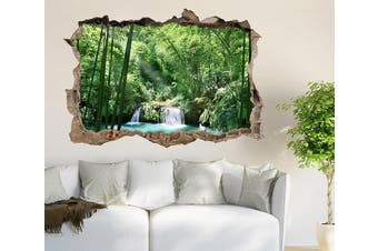3D Bamboo Forest Lake 328 Broken Wall Murals Standard Vinyl(Economical Use)