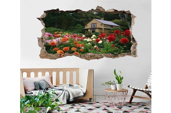 3D Villa Garden Flowers 006 Broken Wall Murals Standard Vinyl(Economical Use)