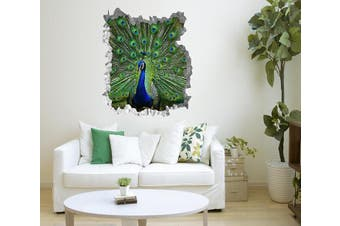 3D Pretty Peacock 222 Broken Wall Murals Standard Vinyl(Economical Use)