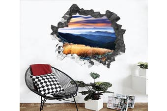 3D Mountains Sunset 198 Broken Wall Murals Heavy Duty Vinyl(Up To 5 Years)